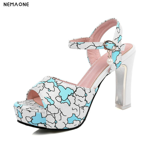 192a708a3c36 New women sandals thick high heels platform sandals woman mixed colors  summer shoes woman black pink blue yellow