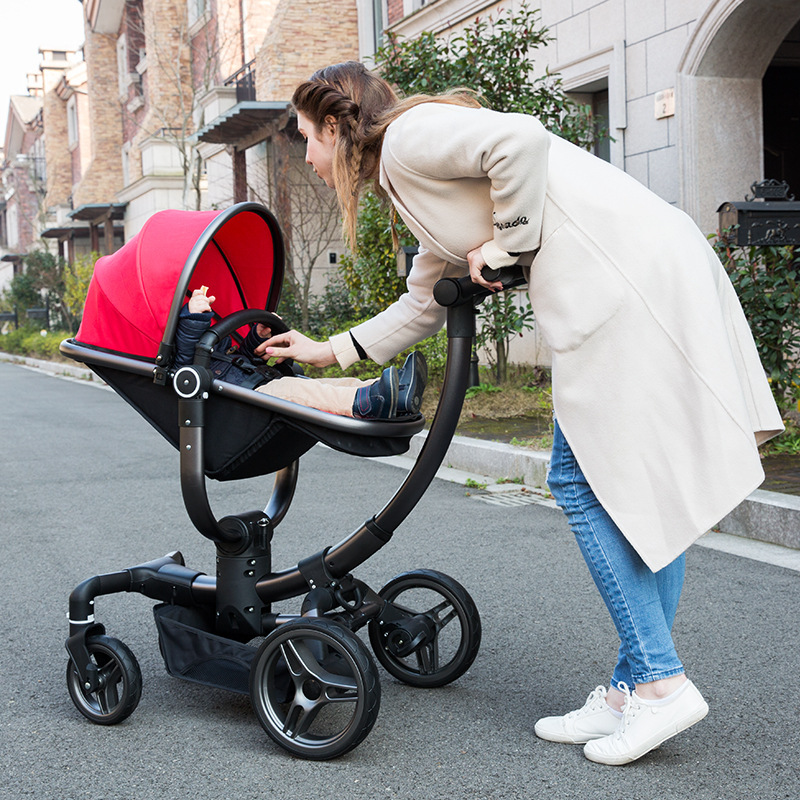V-baby High View Newborn Baby Portable Light Folding Four Wheels Stroller with Car Seat Sleeping Basket Cradle Pushchair Pram baby stroller with cute ceiling swivel wheel pushchair wide seat deluxe high view traveling trolly with snack tray