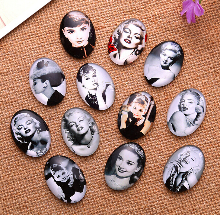 13*18/18*25/30*40mm Audrey Hepburn pattern ellipse Handmade Photo Glass Cabochons & Glass Dome Cover Pendant Cameo Settings(China)