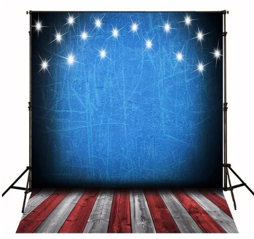 Stage Vinyl Cloth 4th Of July Blue Sky Glitter Stars Wood Floor