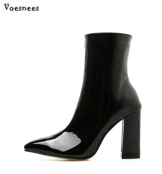 Botas Cremallera 9 Negro Tacón Puntiagudos Bombas Con Sexy gris Zapatos  Mujer Altos Botines Serpiente Cuadrado Nuevos 2018 Tacones Cm Moda ... ae8b3978e5d7