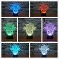 Nueva Moda 7 Colores Cambiar Lámpara de Mesa bombilla Toro Vaca Bebé nightlight Lámpara de dormir 3D Decoración Del hogar Escritorio Creativos Regalos de Año Nuevo