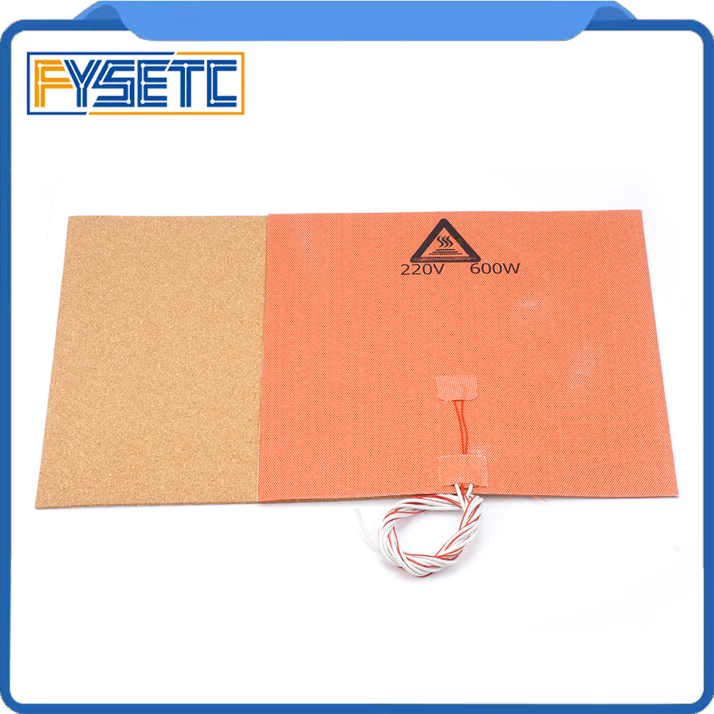 220V 600W Silicone Heater Pad Mat 300X300mm + Adhesive Cork Sheets 300*300*3mm Heated Bed Hot Plate For TEVO Tornado 3D Printer цены