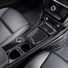 Углеродное волокно в стиле центрального переключения передач держатель стакана воды панель накладка 3 шт. для Mercedes Benz CLA GLA класс 2013- LHD ABS