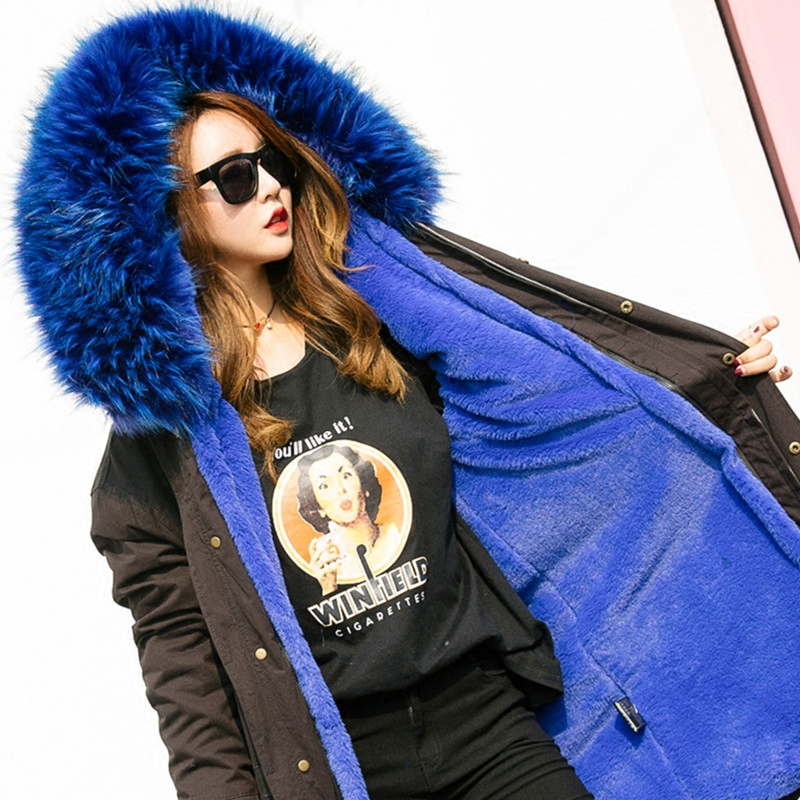 Removable Large Fur Collar Winter Parkas Thick Cotton Liner Female Wadded Jacket Medium-long Women Cotton-padded Jakcet Coats new winter fashion large fur collar cotton parkas thick women cotton padded jacket solid color zipper long sleeve wadded coats