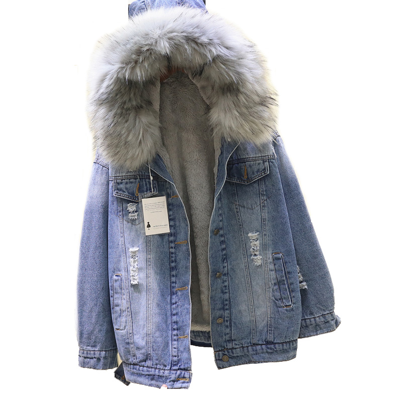 2018 winter Loose Hooded Big Fur women   Parka   Thick Warm Lamb Fur Long Denim Jacket winter jacket women coat with fur Jean Jacket