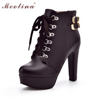 Women Boots Shoes Women Buckle Platform High Heels Ankle Boots Lace Up Winter Boots Ladies Shoes