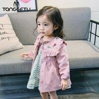 Tanggetu New Spring Autumn Girls Coat Long Style Shoulder Flower Jacket Children Windbreaker Outerwear Full Sleeve