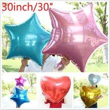 HOT 60pcs/lot wedding balloons 30inch large heart shape aluminum foil big star air ball birthday party ballons supplies