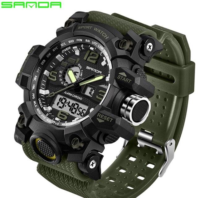 ccd6f4e75 SANDA Esportes Homens Relógios Marca de Topo Relógio Data do Calendário  Exército Verde LED Analógico Digital