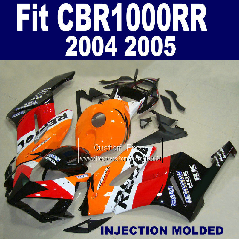 7gifts ABS plastic Injection fairings parts for Honda repsol CBR1000RR 2004 2005 CBR 1000 RR 04 05 CBR 1000RR fairing hulls kits abs injection bodywork for honda repsol fairing kits cbr600 2003 2004 cbr 600 rr 03 04 cbr600rr orange red fairings sets