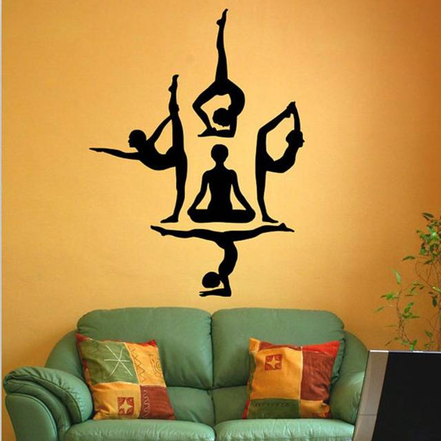 Online Shop free shipping Yoga wall stickers , Yoga Poses OM AUM ...