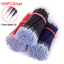 DELVTCH 0.5mm 100pcs/set Gel Pen Refill Needle tip School Office Signature Rods For Handles Red Blue Black Ink Students Gifts 0 5mm 30pcs lot gel pen refill needle tip and 3pcs gel pen suit office signature rods for handles office school supplies