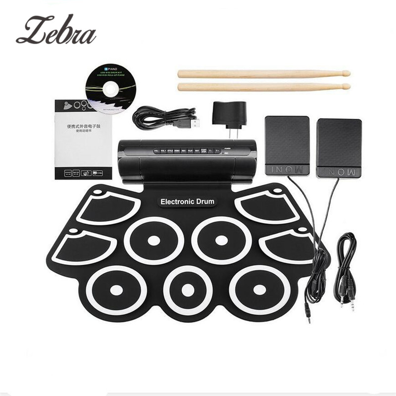 Portable Electronic Drum Digital USB 9 Pads Roll up Drum Set Silicone Electric Drum Pad Kit With DrumSticks Foot Pedal