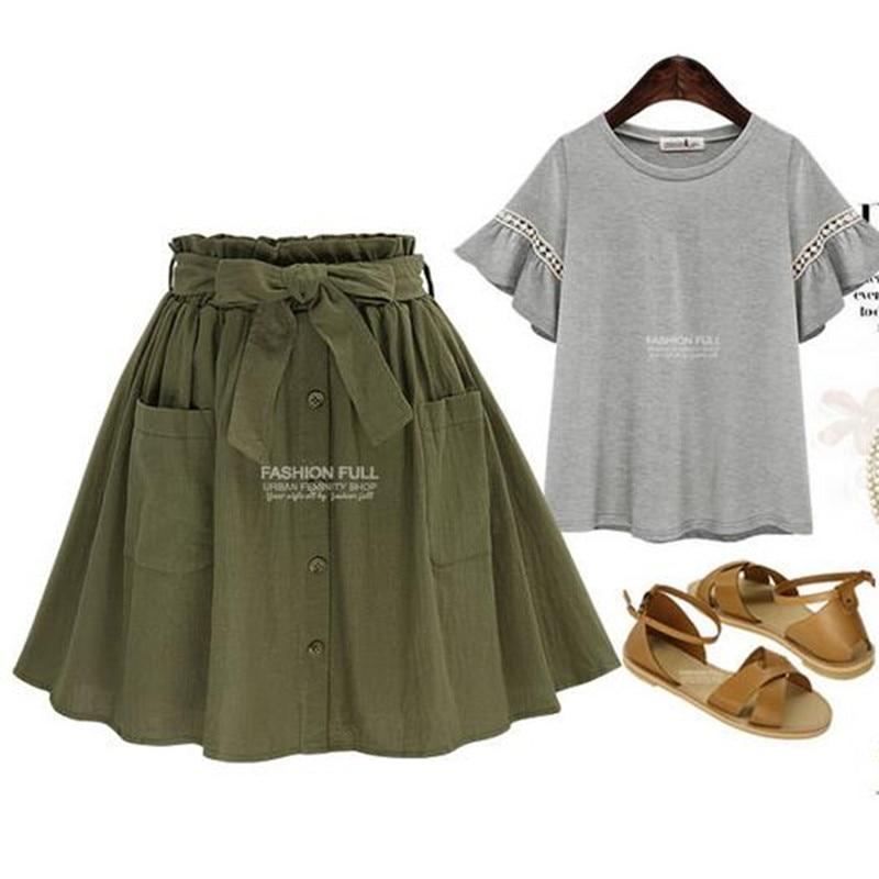 Hzirip wanita rok vintage pinggang tinggi saku padat busur sabuk midi - Pakaian Wanita - Foto 3