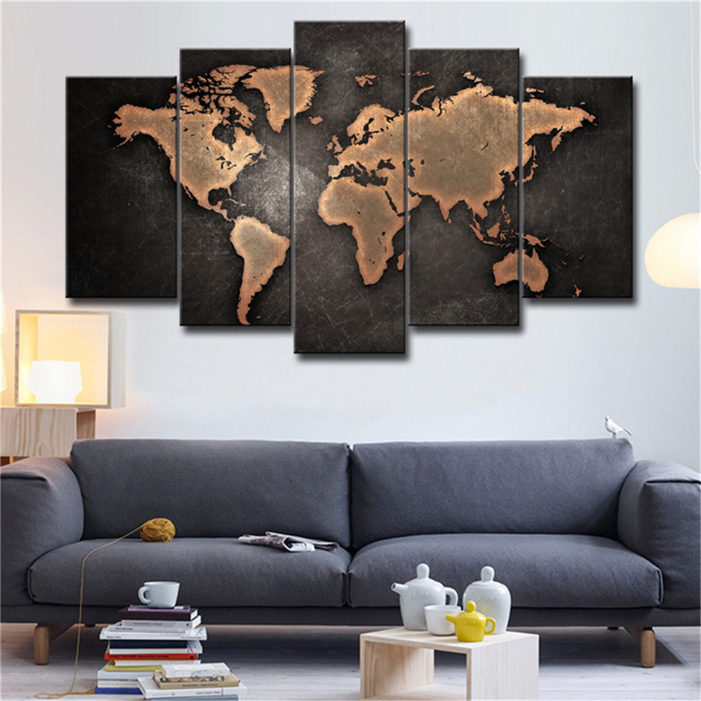 World Map Decorations Us 5 09 45 Off 5 Pieces Canvas Painting Wall Pictures For Living Room Home Decorations Modular Poster Old World Map Art Prints Oil Paintings In