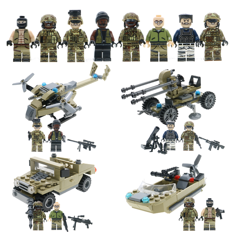 Military Figures 8 Anti Terrorist Elite And Terrorists Soldier 4 Big Size LEGOINGLYS Assault Boat Helicopter Jeep Car Block Toys круг алмазный по керамике 1a1r ceramics elite 200x1 6x7 0x25 4 diam 000547