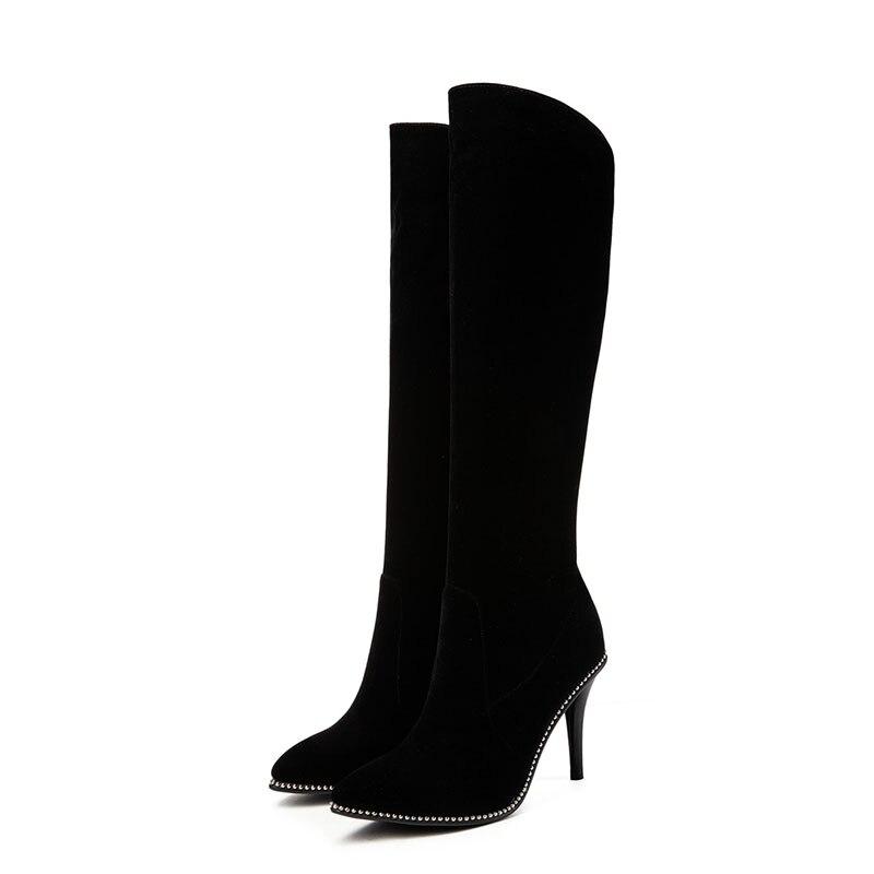 Pointu Élégantes Stiletto Dames De Grande Haut Femmes Haute Bottes Hiver Mode Noir Bout Automne Taille Asumer Genou Talons Hp8ZB8