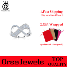 ORSA JEWELS Popular Girls Infinity Ring AAA Austrian Cubic Zirconia