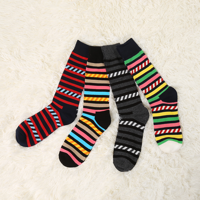 VVQI mens crew stripe socks hip hop thick socks Combed Cotton Brand Harajuku Men Socks Colorful Dress Crew Funny socks gift box