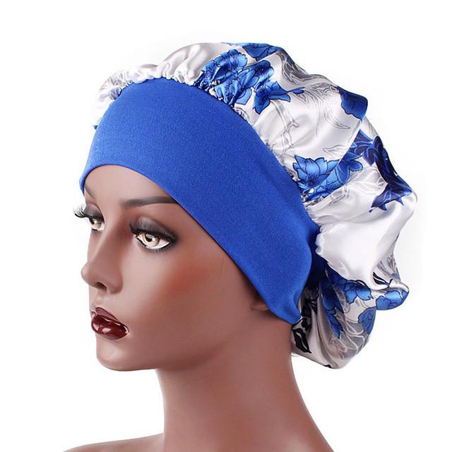 2018 kobiet szerokie pasmo satynowa czapka nocna kwiatowy Print maski piękno czepek do pielęgnacji włosów wypadanie włosów okłady