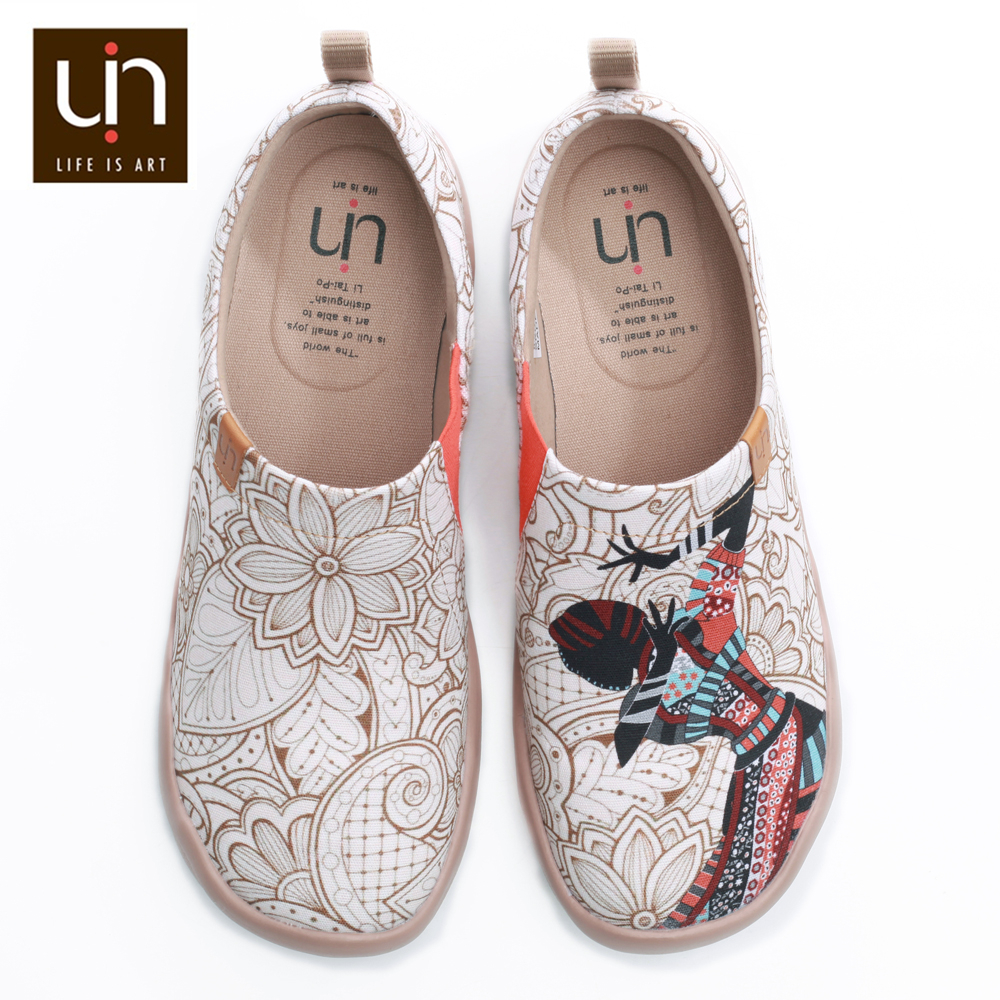 UIN Loafers Womens Shoes Women Flats Shoes Round Toe Slip-on Loafers Breathable Outdoor Walking Shoe Ladies Black Pearl Design
