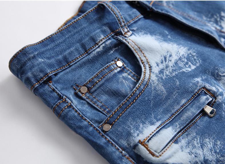 Jeans De Plissé Biker Pour Genou Haute En D'été Longueur Stretch Taille Fit Zipper 42 Bleu Hommes 28 Casual Short Slim Jean Moto Y5wSv7q