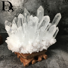Natural Clearคลัสเตอร์Nunatakตกแต่งสีขาวคริสตัลคลัสเตอร์Dryse Geode Reiki Healingคอลัมน์จุดรังสีทน