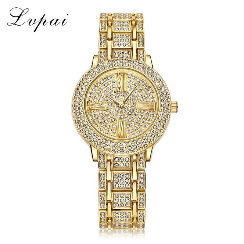 LVPAI Brand Luxury Bracelet Watches Women Gold Stainless Steel Dress WristWatch Ladies Fashion Casual Watch Sport Quartz Watch