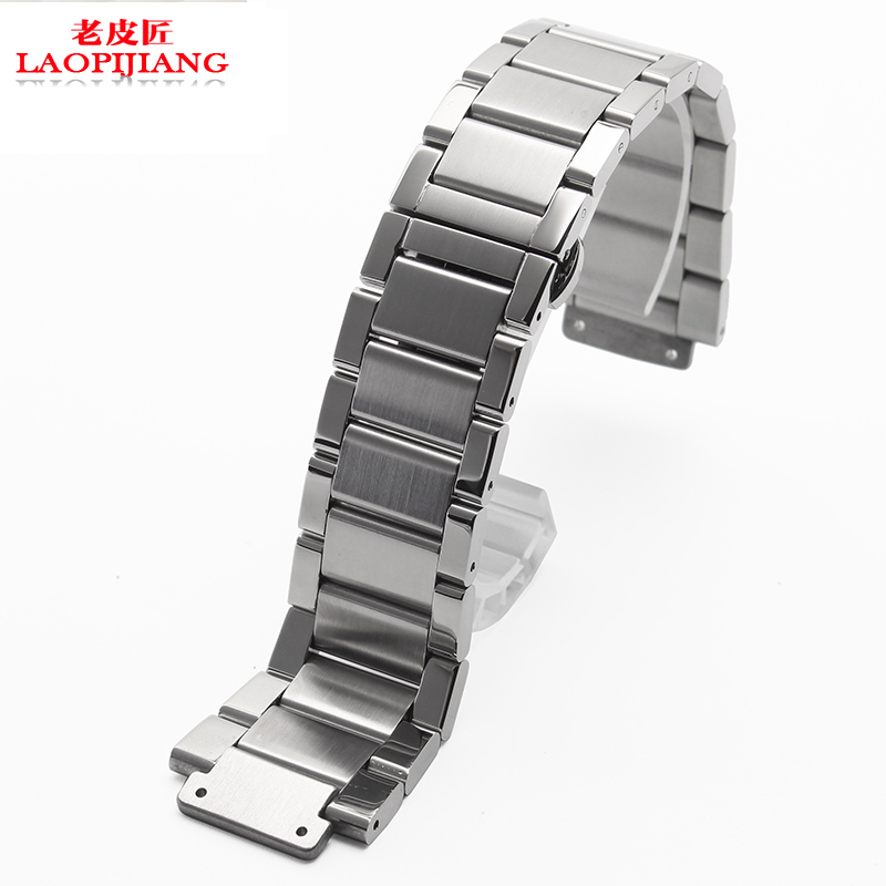 liaopijiang Solid stainless steel bracelet substitute 27*19mm steel strip convex mouth male butterfly color watch strap liaopijiang bao gangshi used ar5890 ar5905 ar5906 stainless steel strip rubber fashion 20 23mm