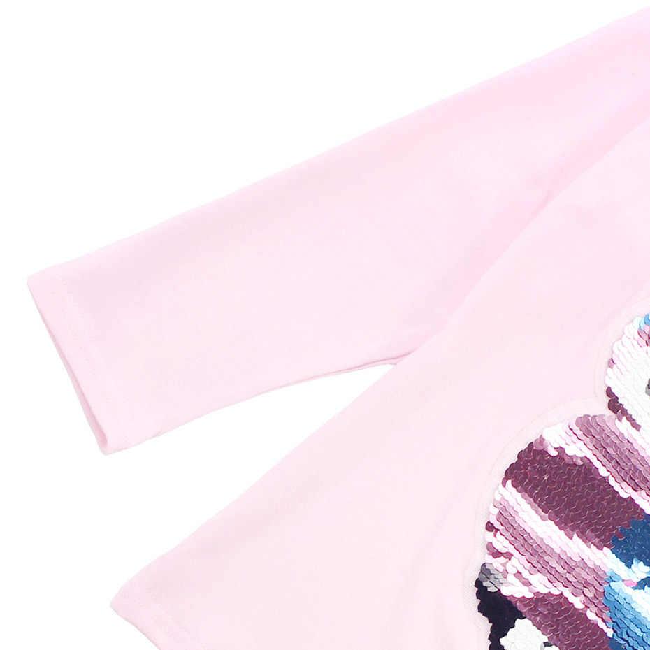 Футболки для девочек, рубашка с блестками и изображением совы, футболка с длинными рукавами для девочек, детская Весенняя подростковая одежда для девочек 6, 8, 10, 12, 13, 14 лет