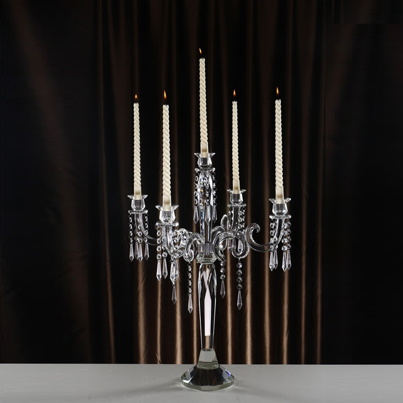 Demountable 5 arms Crystal Candelabra Glass Candle Holder Stick for Wedding Table Centerpieces Home Decoration