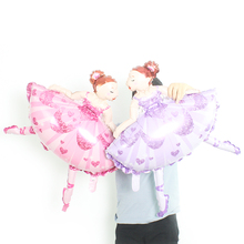 Large Size 88x75cm Party Balloons Cartoon Character Ballet Dancing Girl Foil for princess birthday party decoration