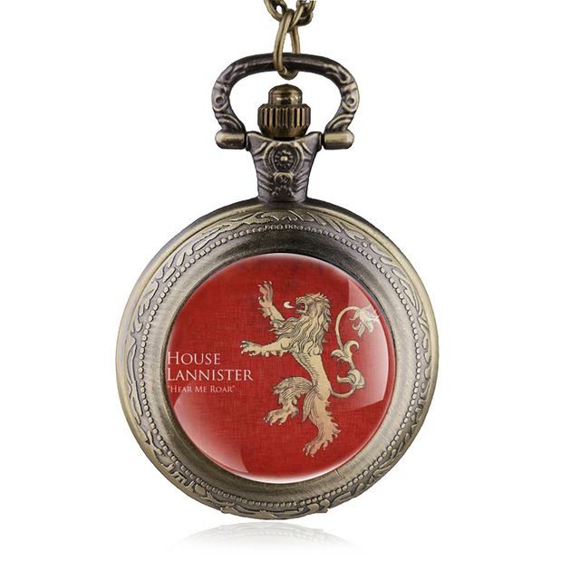Vintage Bronze Game of Thrones Lannister House Hear Me Roar Pocket Watch Jewelry
