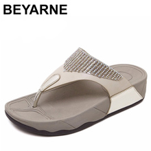 BEYARNE  hot sell women summer Comfortable Breathable Flat sandals shoes woman flip flop Crystal casual beach sandals size