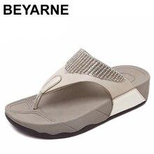 BEYARNE hot sprzedam kobiety lato wygodne oddychające sandały na płaskim obcasie buty kobieta flip flop kryształowe sandały plażowe rozmiar