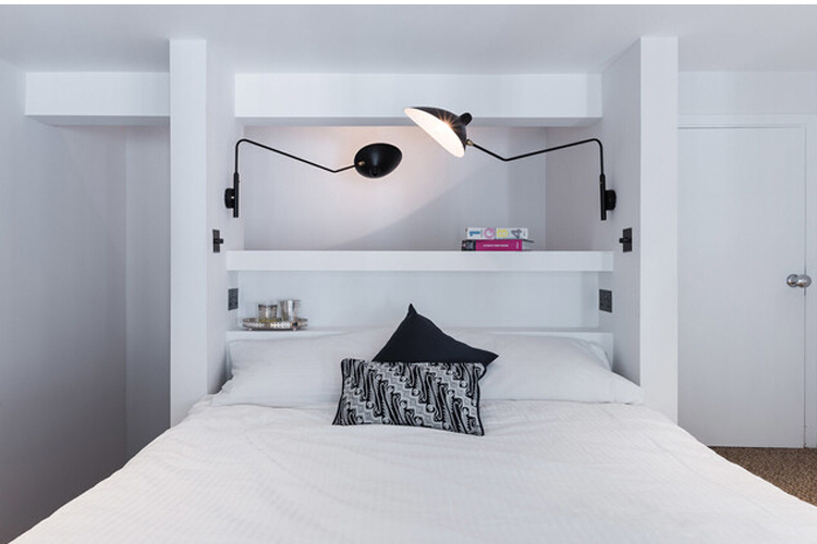Serge mouille 1 arm rotating sconce wall lamp modern wall lamp serge mouille 1 arm rotating sconce wall lamp modern wall lamp lightblack or white color free shipping in wall lamps from lights lighting on aloadofball Image collections