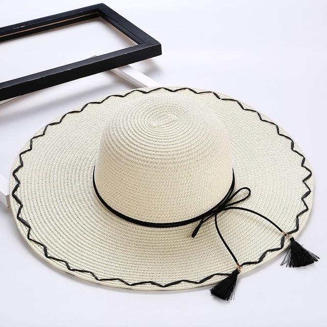 Mulheres verão Chapéu de Sol Senhoras Aba Larga Chapéus De Palha Dobrável  Ao Ar Livre Praia dc13937f46d