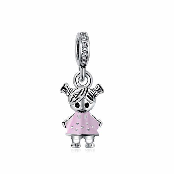 ヴィンテージパンクかわいい動物フクロウロボット城小女の赤ちゃんエナメルペンダントビーズフィットパンドラチャームブレスレット Diy ブレスレットメイキングジュエリー