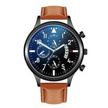 цена Men Watches 2019 Top Brand Fashion & Casual Quartz Wristwatches Leather Complete Calendar Watches Clock for Mens Gifts онлайн в 2017 году