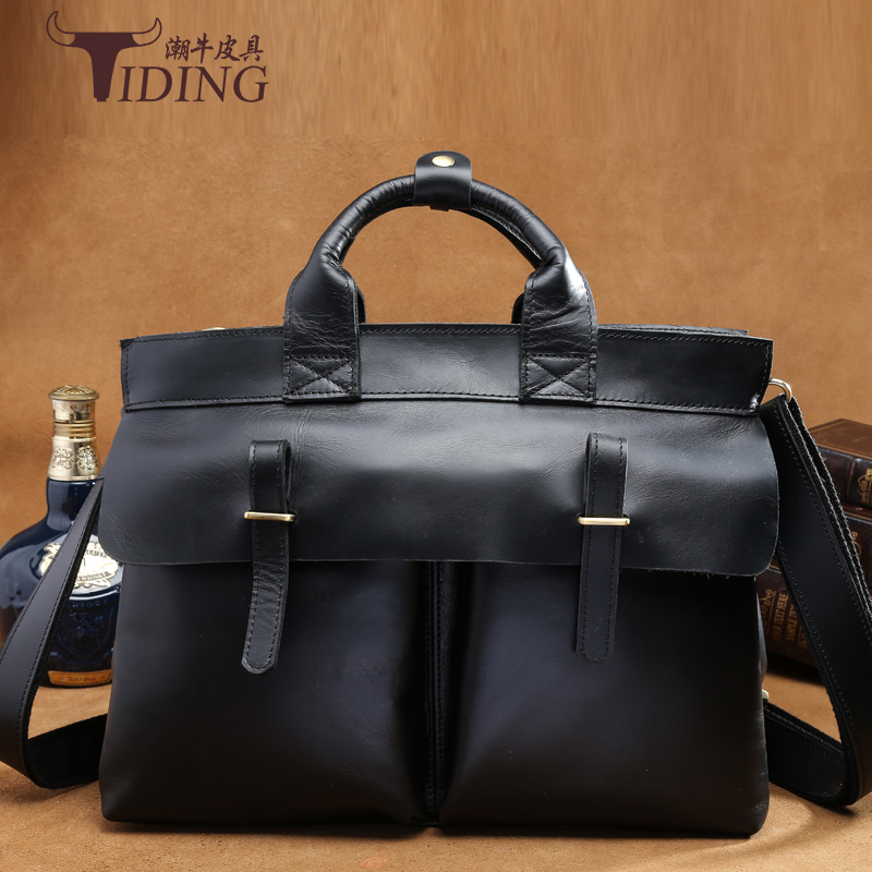 Fashion Famous Brand Business Men Briefcase Bag Genuine Leather Laptop Bag Casual Man Bag Shoulder bags Vintage handbags 15 brand designer genuine leather bag fashion shoulder crossbody bags business briefcase casual men handbags