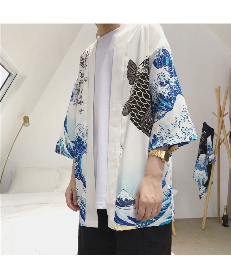 HTB1lrIFHQSWBuNjSszdq6zeSpXaw Zongke Japanese Kimono Cardigan Men Wave and Carp Print Long Kimono Cardigan Men Thin Mens Kimono Cardigan Jacket Coat 2018