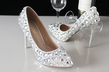New summer crystal shoes wedding shoes bridal shoes wedding dresses women's silver fine heel pointed heels single shoes