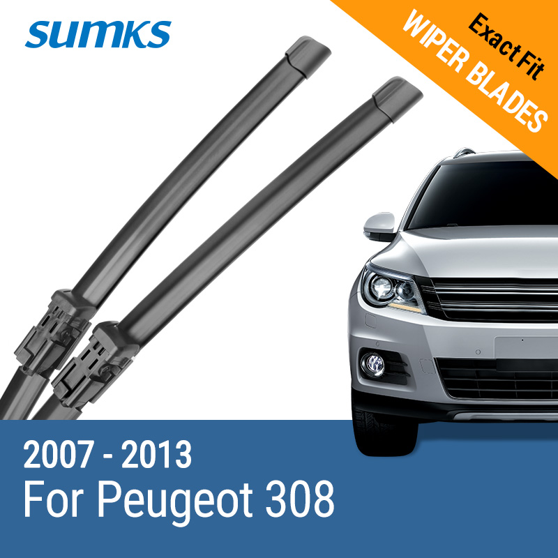 "SUMKS Wiper Blades untuk Peugeot 308 30 ""& 26"" Fit push button Arms 2007 2008 2009 2010 2011 2012 2013"