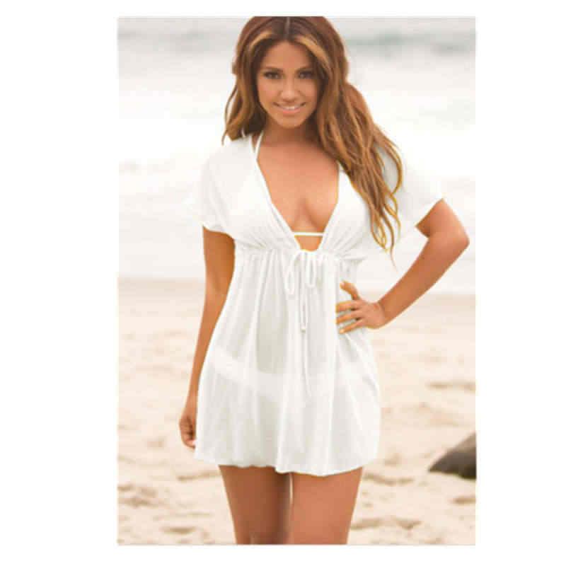Mujer sexy pura malla Bikini traje de verano caliente mujer sólido encaje Mini vestido de baño traje de baño