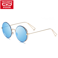 TRIUMPH VISION Blue Mirror Round Vintage Sunglasses Women Th