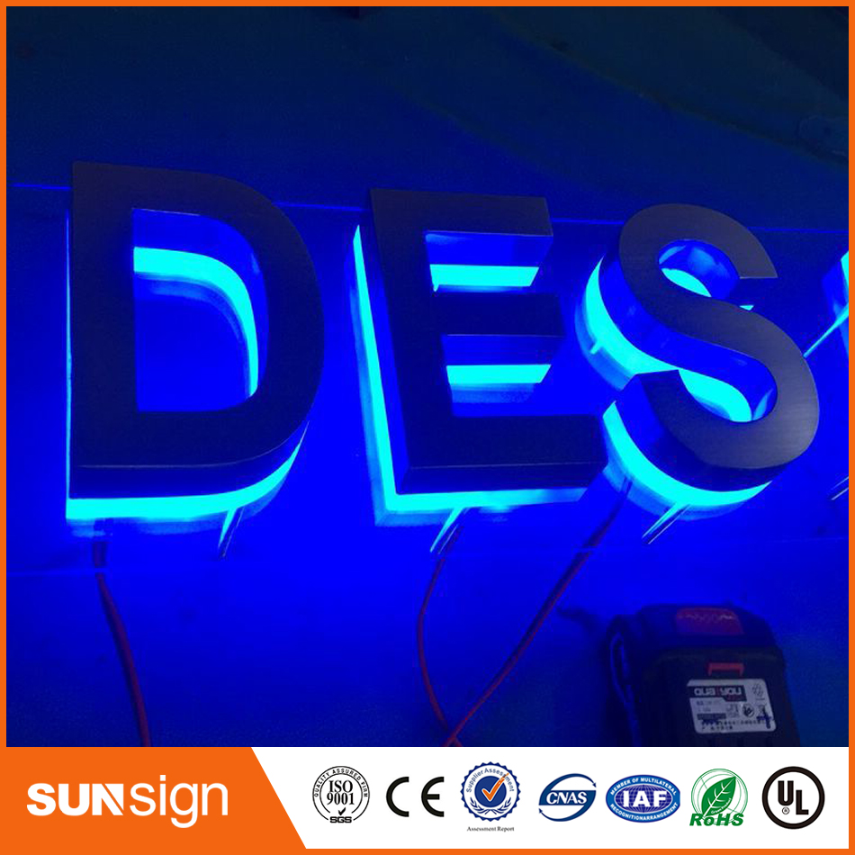 Popular Led Backlit Channel Letter Signs Decorative Metal Led Alphabet Letters With Waterproof Led Strip