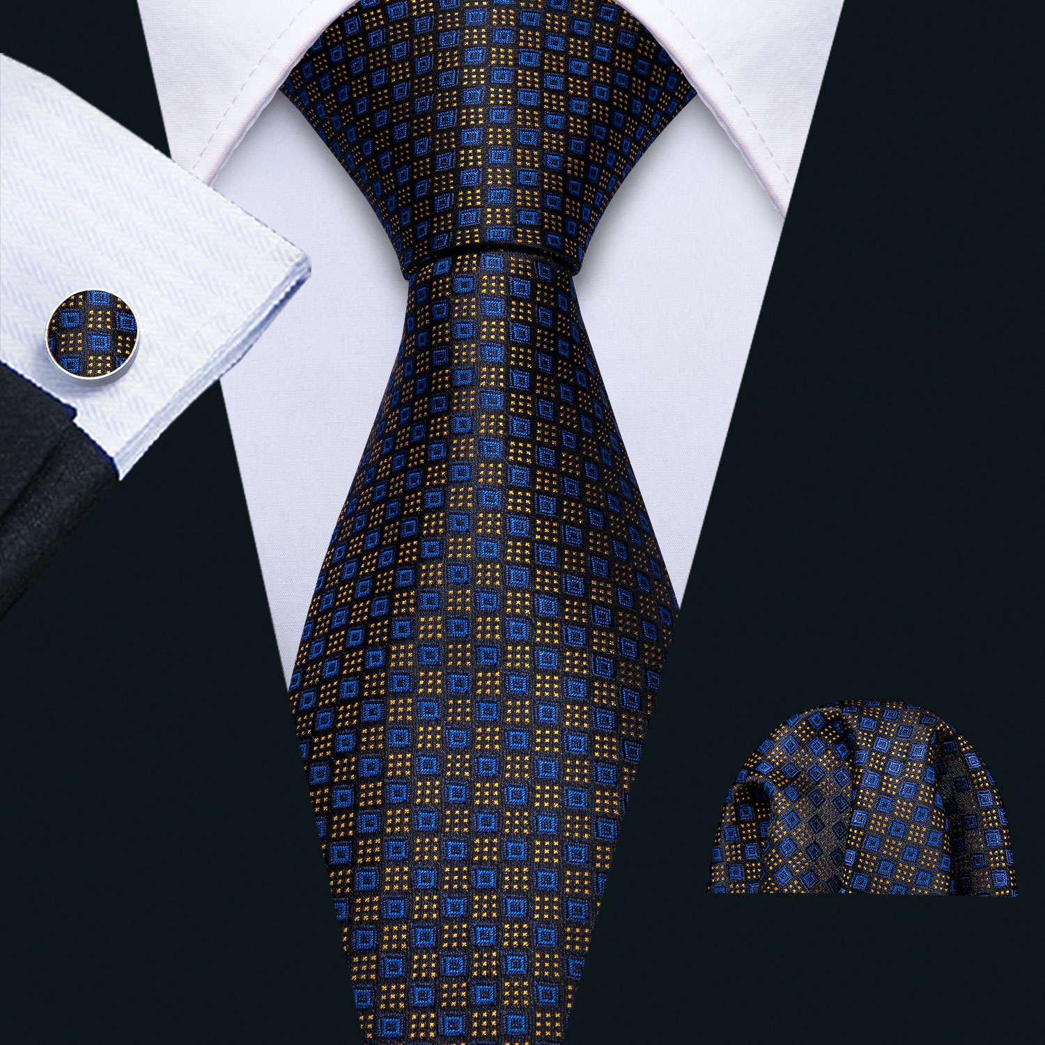 2019 Men Tie Navy Geometric Silk Tie Barry.Wang 3.4
