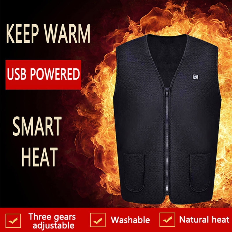 Electric Flexible Zipper Slim Vest Winter Warm Jacket Sports Hiking Clothes Men\'s And Women\'s Outdoor USB Infrared Heating