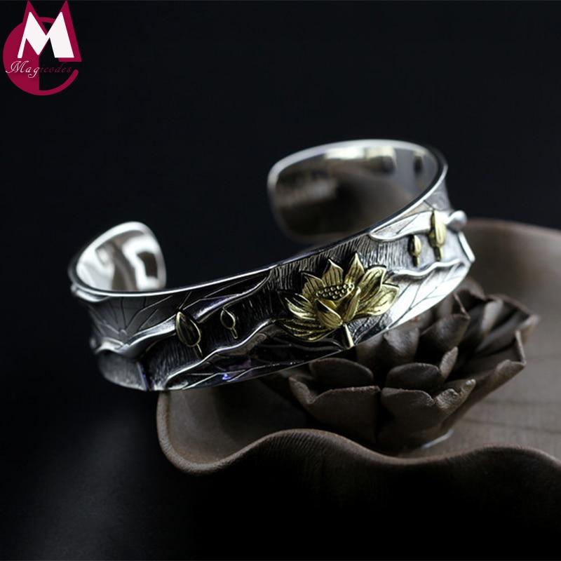 100% 925 Sterling Silver Bangles For Women Retro Lotus Flower Female Handmade Big Leaf Opening Bracelet Vintage Jewelry SB76 leaf opening bracelet